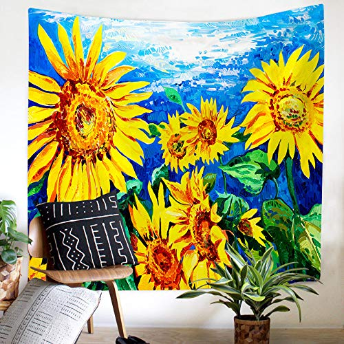Grace store Sunflower Tapestry Yellow Sunflower Field Wall Tapestry Sunflower Ocean Wall Hanging Flower Floral Tapestry for College Student Dorm Decor, 59x51 Inches -