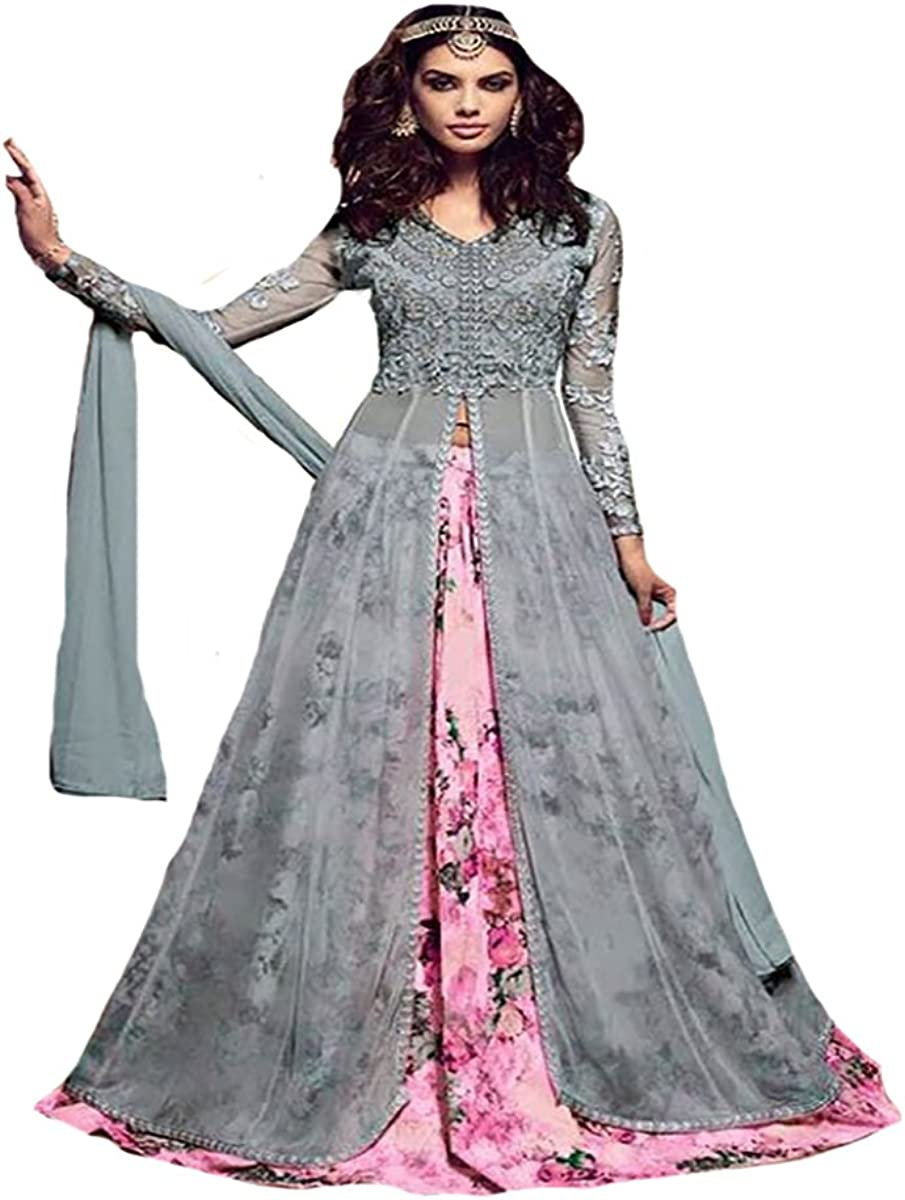 Bollywood Collection Indo Western Gown Indian Women Ceremony Wedding Party Wear 8769 Sb At Amazon Women S Clothing Store