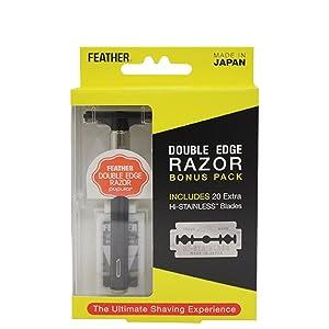 Feather Double Edge Razor Bonus Pack Includes Hi-stainless Blades