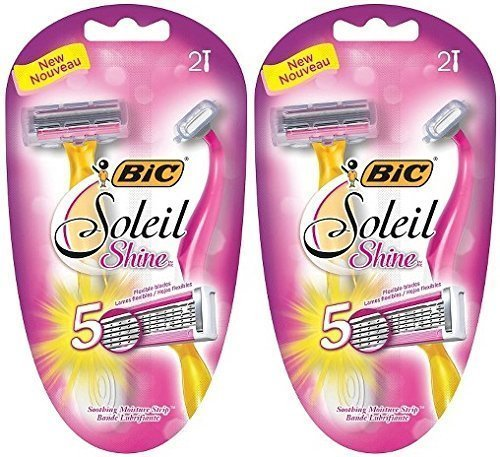 Bic Soliel Shine Disposable Razors 2 Razors Per Package (2 Packages)
