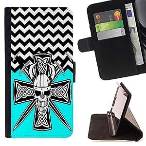 - Devil Cross Chevron Pattern - - Prima caja de la PU billetera de cuero con ranuras para tarjetas, efectivo Compartimiento desmontable y correa para la mu?eca FOR Apple iPhone 5 5S King case