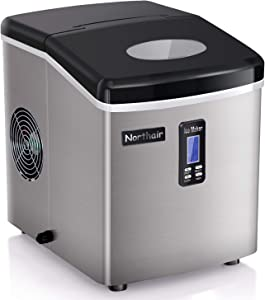Ice Maker Machine Countertop, Ice Cubes Ready in 6 Mins, Make 26 lbs Ice in 24 Hrs with 2 Size (S/L), Compact Electric Ice Maker with Ice Scoop and Basket (stainless-35LB)
