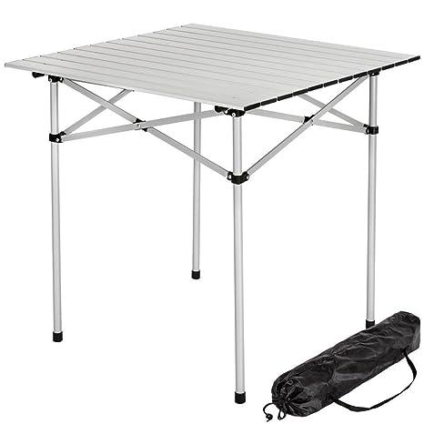 Tavoli Pieghevoli Per Camper.Bakaji Tavolo Tavolino Camper Campeggio Picnic In Alluminio Pieghevole Arrotolabile Salvaspazio 70x70x70cm