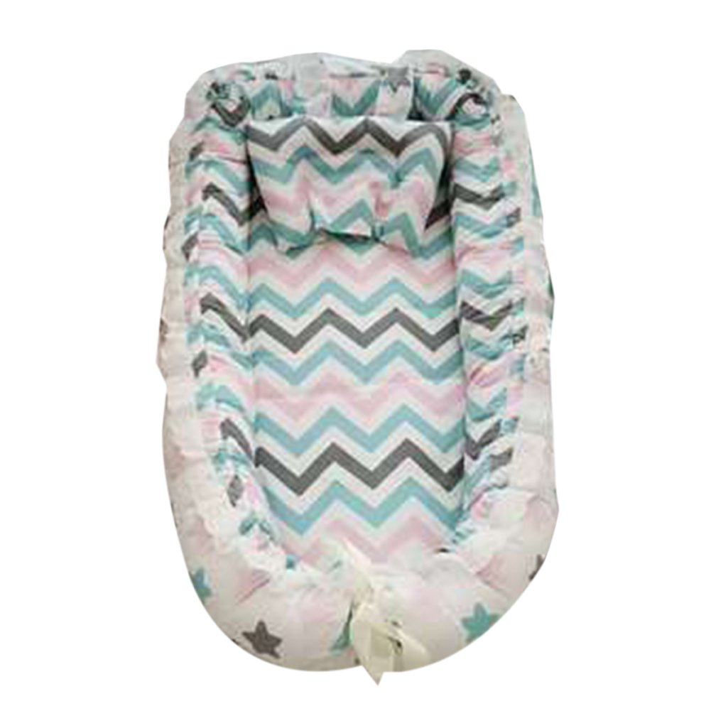 Baby Bassinet Lounger Newborn 0-24 Months Cribs Co-Sleeping Pod - High Elasticity Pearl Cotton/Super Soft/Breathable/Portable/Removable Discovery
