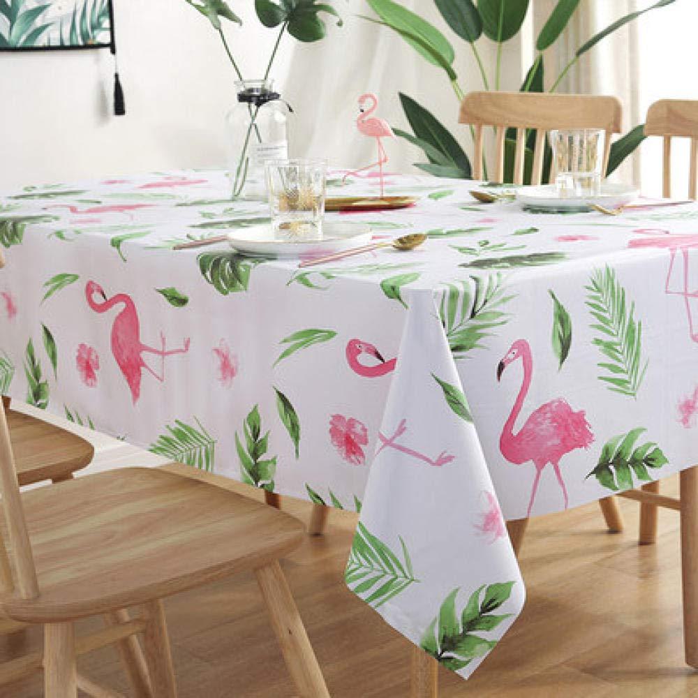 WJJYTX Plastiktischdecken abwischbar, Quadratisch Abwischbar Tischdecke Rechteckig Wasserdicht Vinyl für Gartenküche Outdoor oder Indoor Green Leaf Flamingo-120 * 160