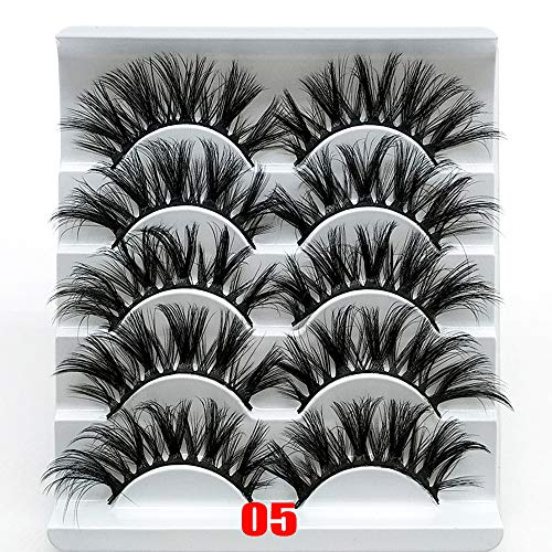 5 Pairs Beauty Makeup Resuable Handcraft Fluffy Flared Eye Lash Extension 3D Soft Faux Mink Hair Natural Long False Eyelashes(05)