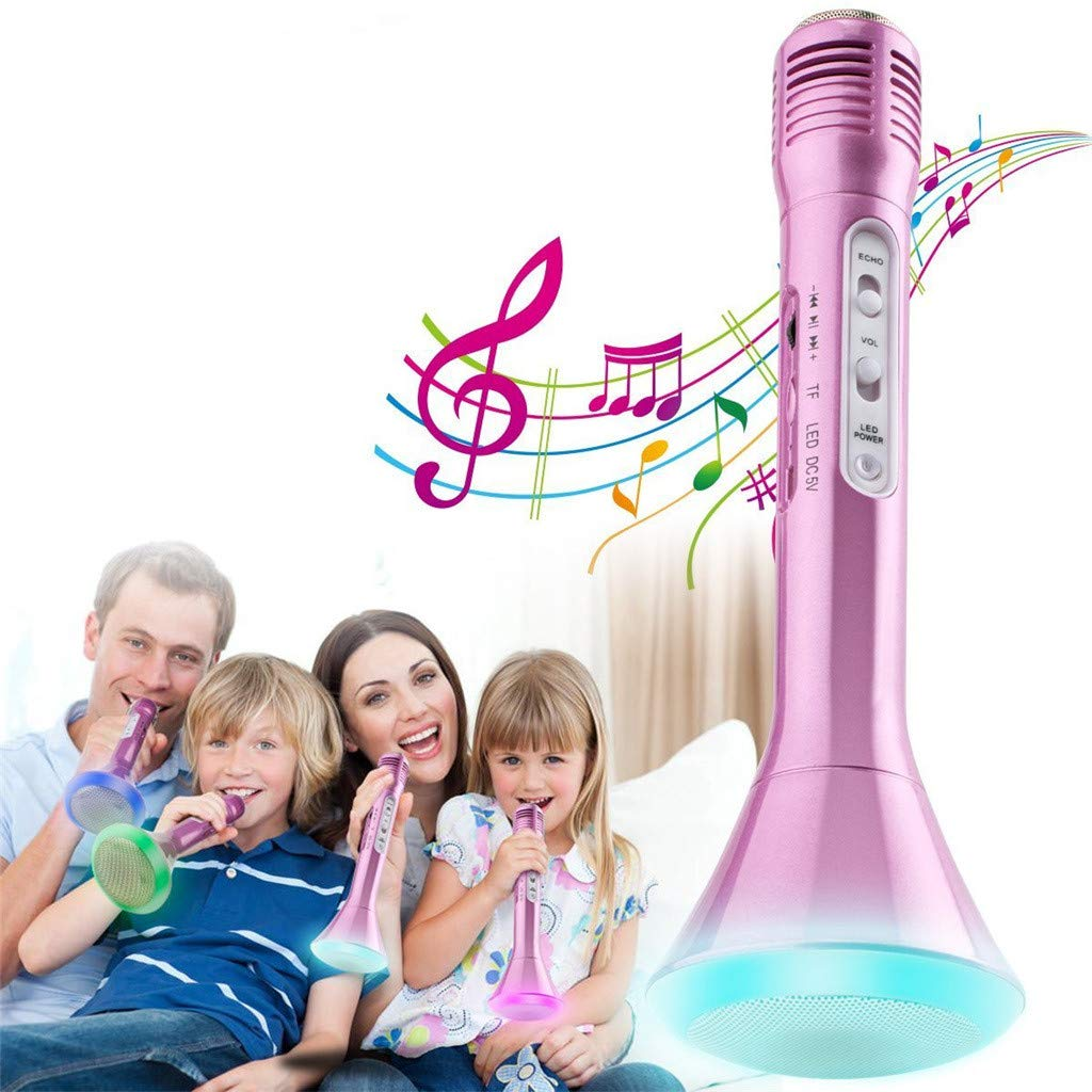Wenini Wireless Microphone Karaoke for Kids, Handheld Portable Karaoke New Year Gift Home Party Birthday Speaker Player to Our Smart Device for iPhone/ iPad / Android Phone/ PC (Pink) by Wenini (Image #2)