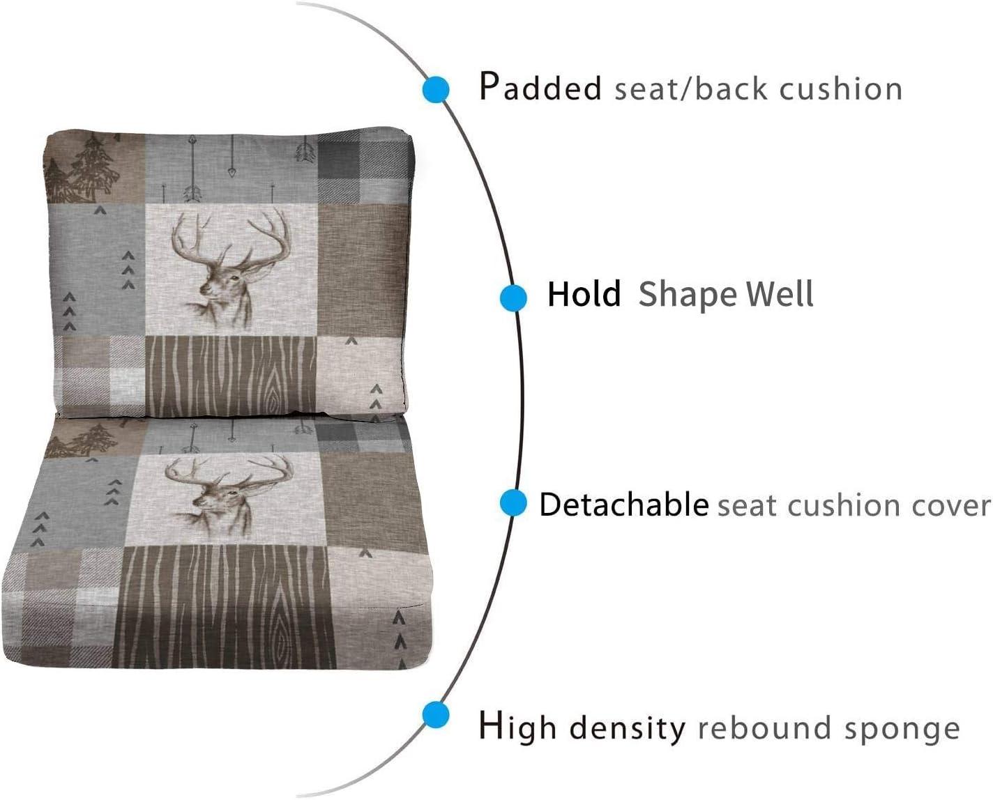 ONENPENRI 2-Piece Outdoor Deep Seat Cushion Set Deer Patchwork Rustic Neutrals Back Seat Lounge Chair Conversation Cushion Review
