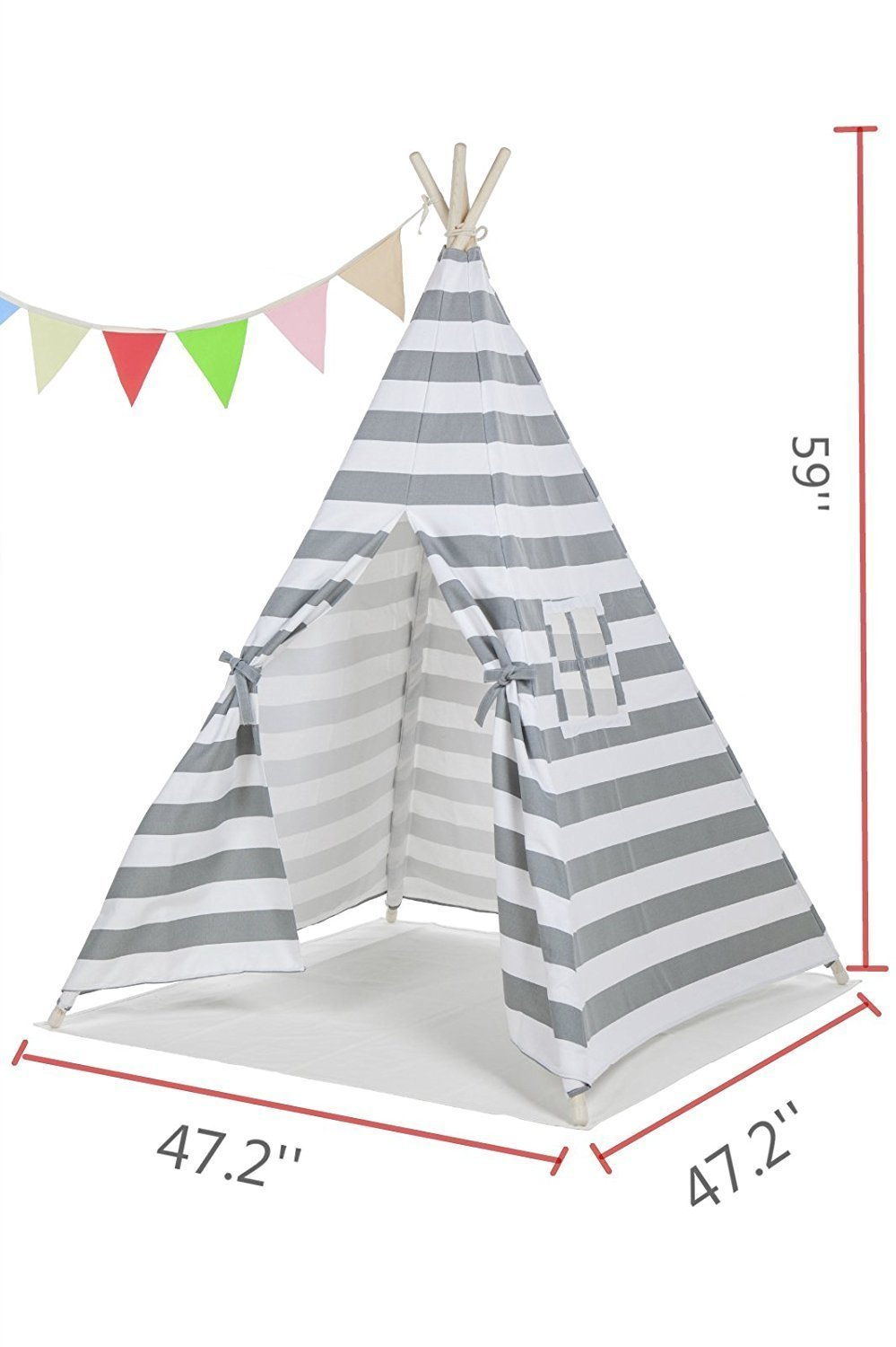 ABULU 6' Indoor Indian Playhouse Toy Teepee Play Tent for Kids Toddlers Canvas Teepee With Carry Case With Mat (Grey Stripe)