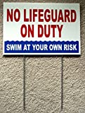 1 Pc Brilliant Unique No Lifeguard On Duty Sign Risk Beach Swim Board Warning Message Post At Your Own Diving Danger Signs Decal Keep Water Pools Rules Decor Pool Poster Swimming Size 8''x12'' w/ Stake