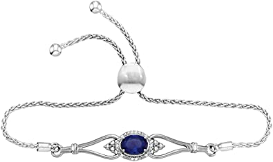a8c8f7b1d20 Image Unavailable. Image not available for. Color: Sterling Silver Oval Lab-Created  Blue Sapphire Bolo ...