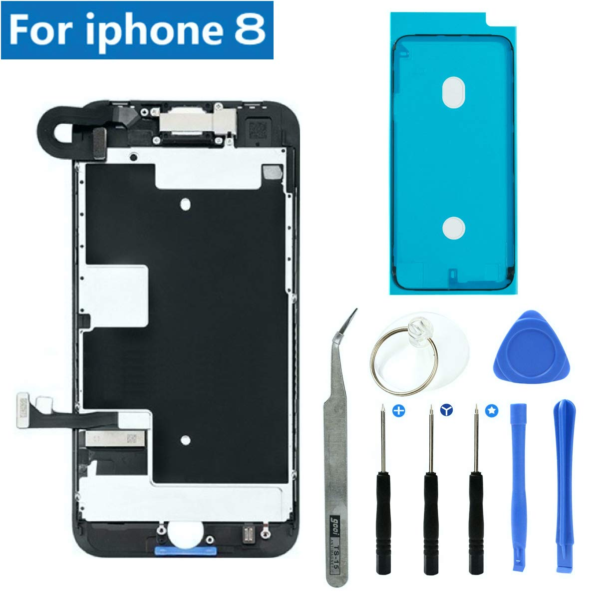 Full Screen Replacement LCD 3D Touch Assembly Front Camera Ear Speaker Shield Plate with Frame Adhesive and Repair Tools for iPhone 8 4.7 inch (Black) by JC Mobile Parts