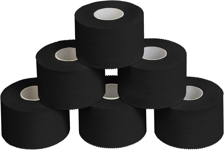 ALPIDEX 6 x Cinta Adhesiva Deportiva 3,8 cm x 10 m, Color:Negro