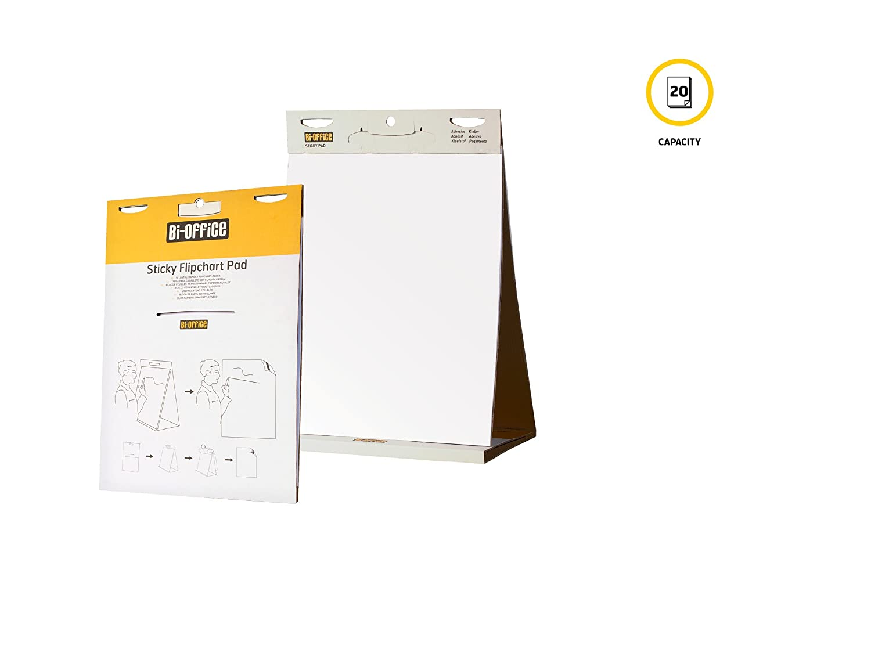20 hojas Bloc de papel para reuniones blanco liso 585 x 500 mm Bi-Office
