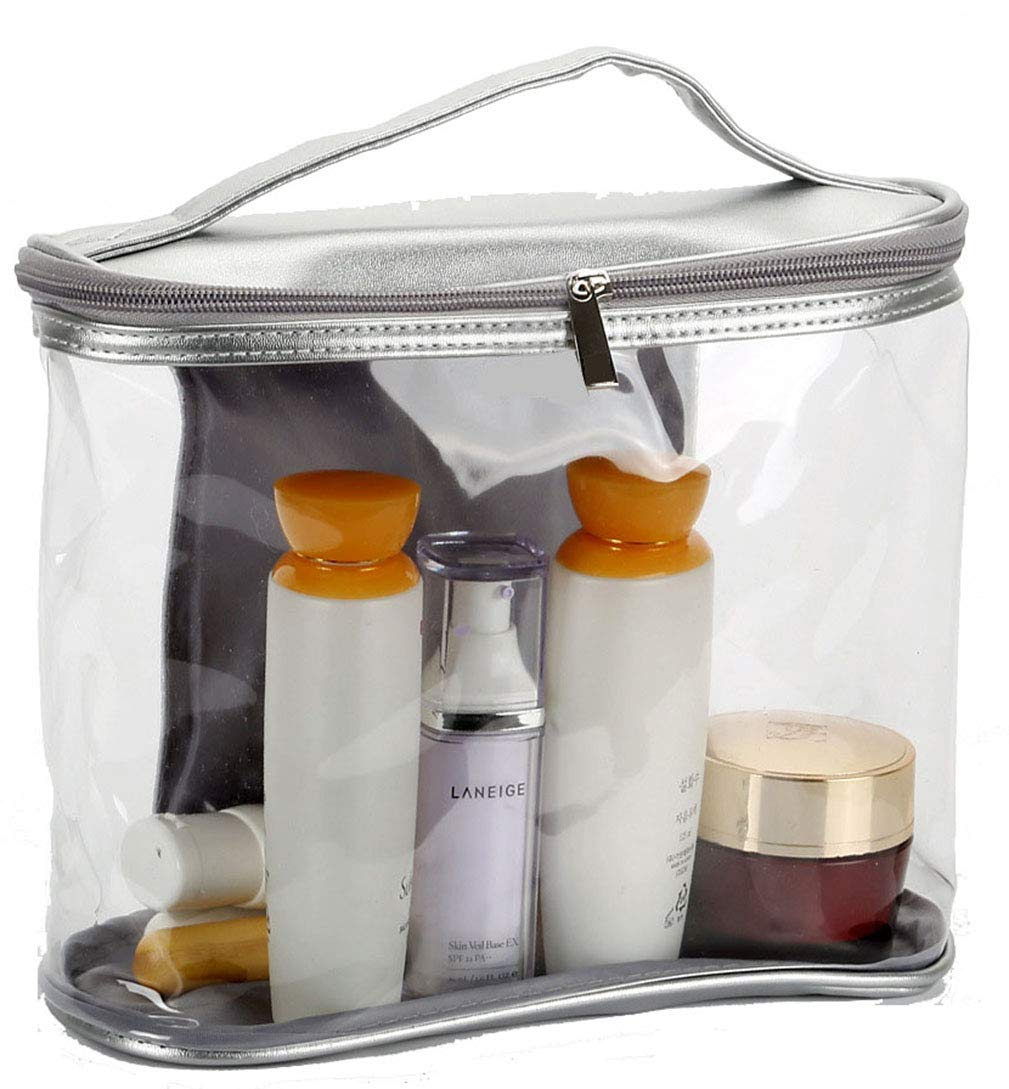 Morsafe Clear Toiletry Travel Bag Transparent Cosmetic Bag with Top Handle,Waterproof Bathroom Makeup Pouch for Women and Men