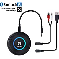 Golvery Bluetooth 4.1 Transmitter and Receiver - 2 in 1 Wireless 3.5mm Aux Bluetooth Audio Adapter – aptX Low Latency, Enjoy HiFi Music - for Home TV, PC, Headphones, Speakers & Car Stereo System
