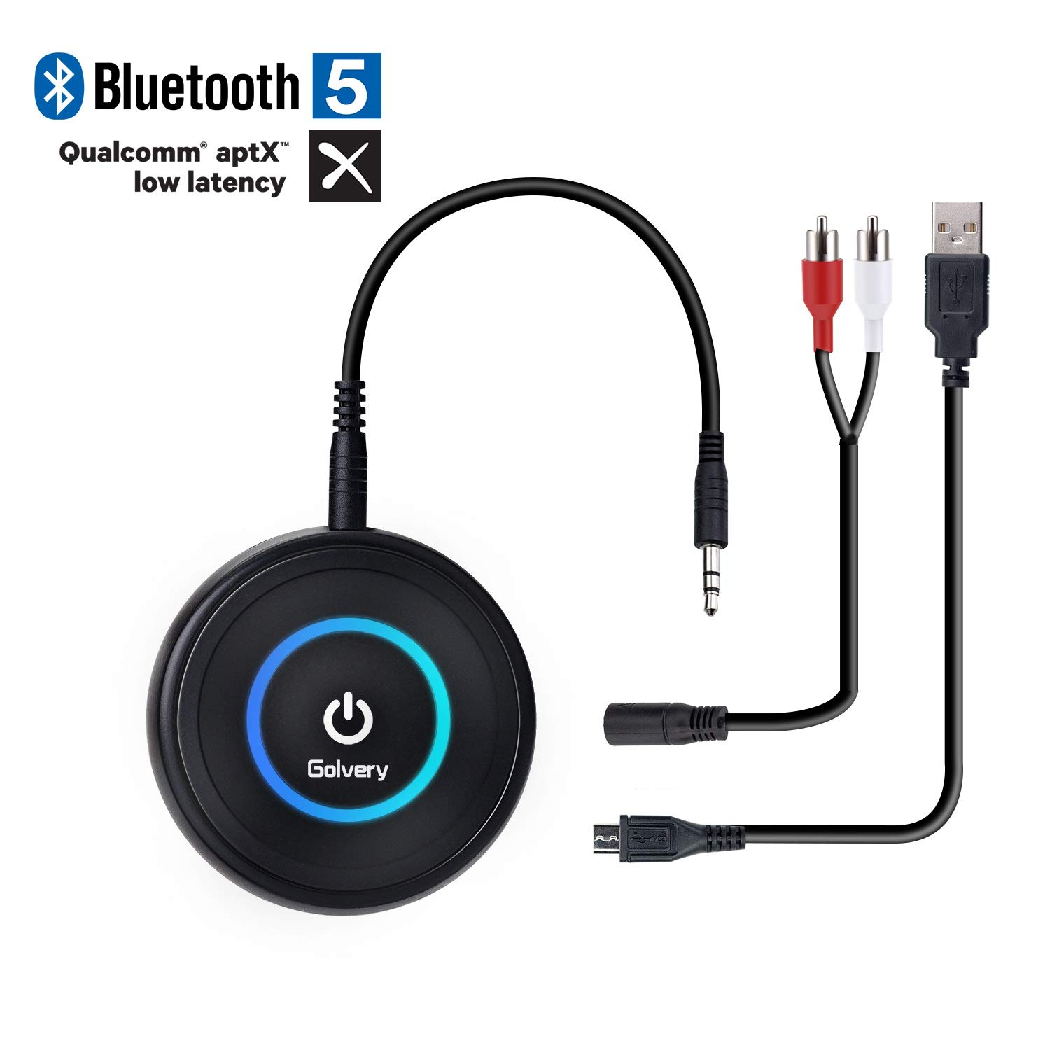 Golvery Bluetooth 5.0 Transmitter and Receiver - 2 in 1 Wireless 3.5mm Aux Bluetooth Audio Adapter - aptX Low Latency, Enjoy HiFi Music - for Home TV, PC, Headphones, Speakers & Car Stereo System by Golvery