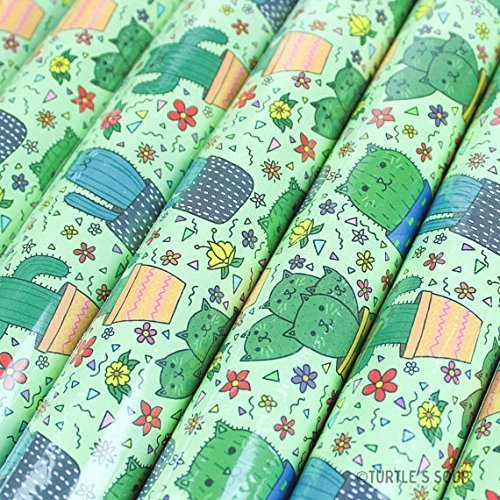 Cactus Gift Wrap, Cacti Wrapping Paper, Cat Gifting Paper, Succulents, Desert, Botanicals, 3 Sheets - Turtle's Soup by Turtle's Soup