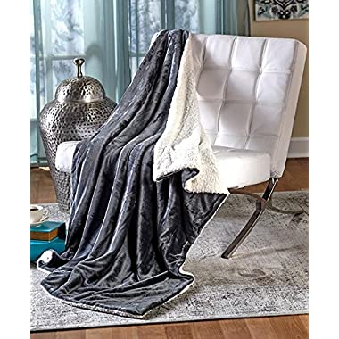 The Lakeside Collection 50  x 60  Ultra-Plush Sherpa-Backed Throw - Gray