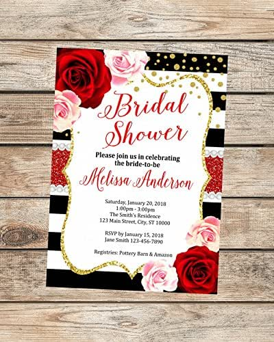 Red And Pink Wedding Invitations: Amazon.com: Red Roses Bridal Shower Invitations, Red And