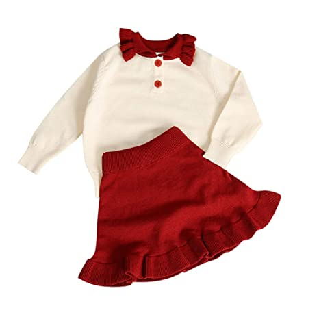 Infant Baby Boy Girl Long Sleeve Solid Knit Sweater Tops Skirt Outfits