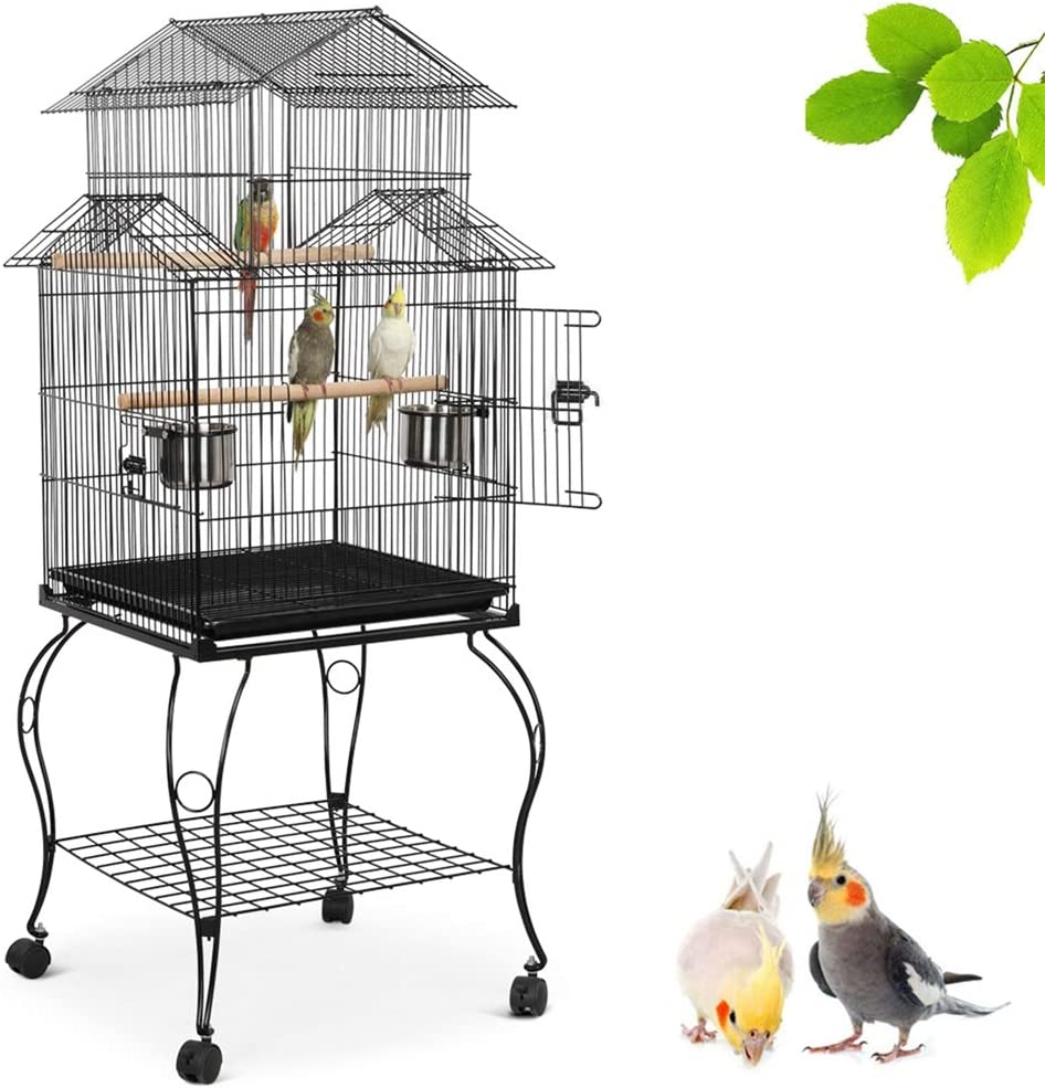 Amazon Com Yaheetech 55 Inch Rolling Standing Triple Roof Top Medium Parrot Cage For Mid Sized Parrots Cockatiels Sun Parakeets Green Cheek Conures Caique Pet Bird Cage With Detachable Stand Pet Supplies