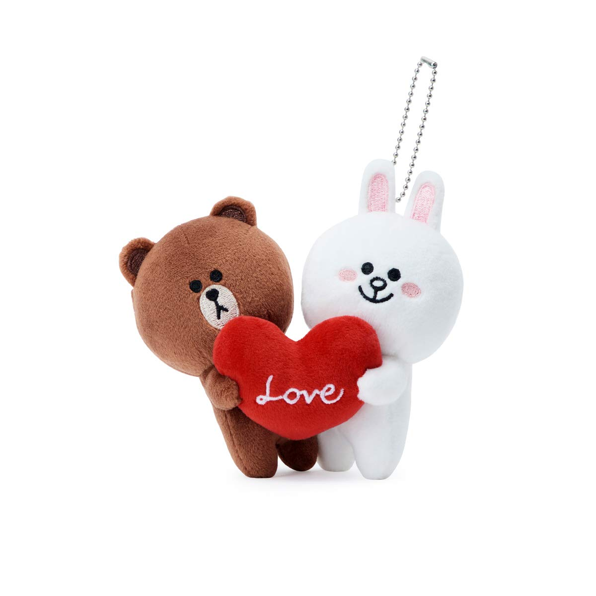 LINE FRIENDS Love Bag Charm - BF Character Keychain Décor 15CM, Brown/White