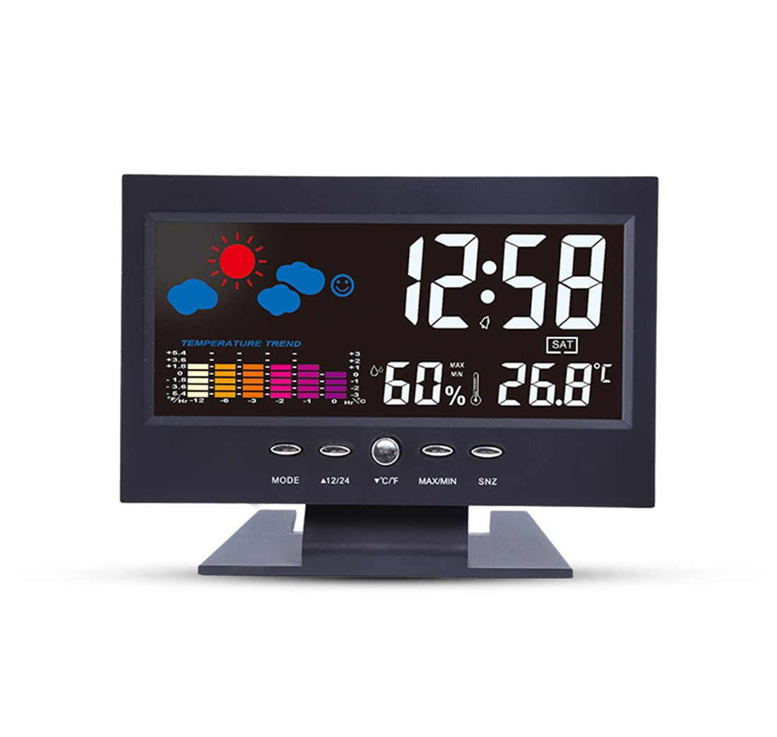 Digital Weather Station Forecase Alarm Clock With Temperature & Humidity,Home Smart TV Shape Sound Controled To Backlight Snooze Alarm Clocks For Beside
