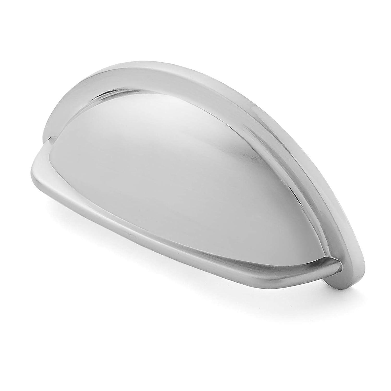 "Cauldham 10 Pack Heavy-Weight Bin Cup Drawer Pulls (3"" Hole Centers) - Classic Kitchen Cabinet Door Handle Hardware - Style B350 - Satin Nickel"