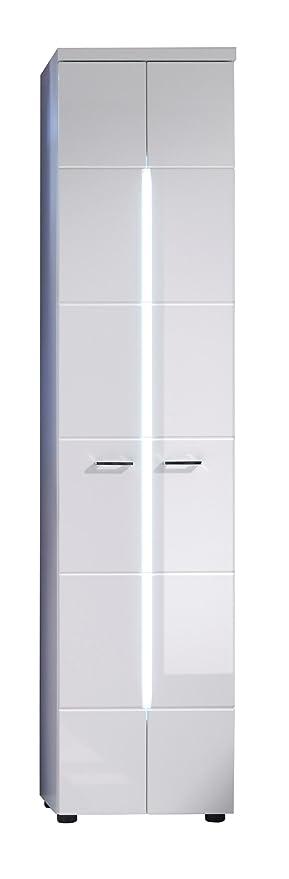 Trendteam Badezimmer Hochschrank Schrank, 43 X 185 X 31 Cm In Weiß Hochglanz  Mit Frontbeleuchtung