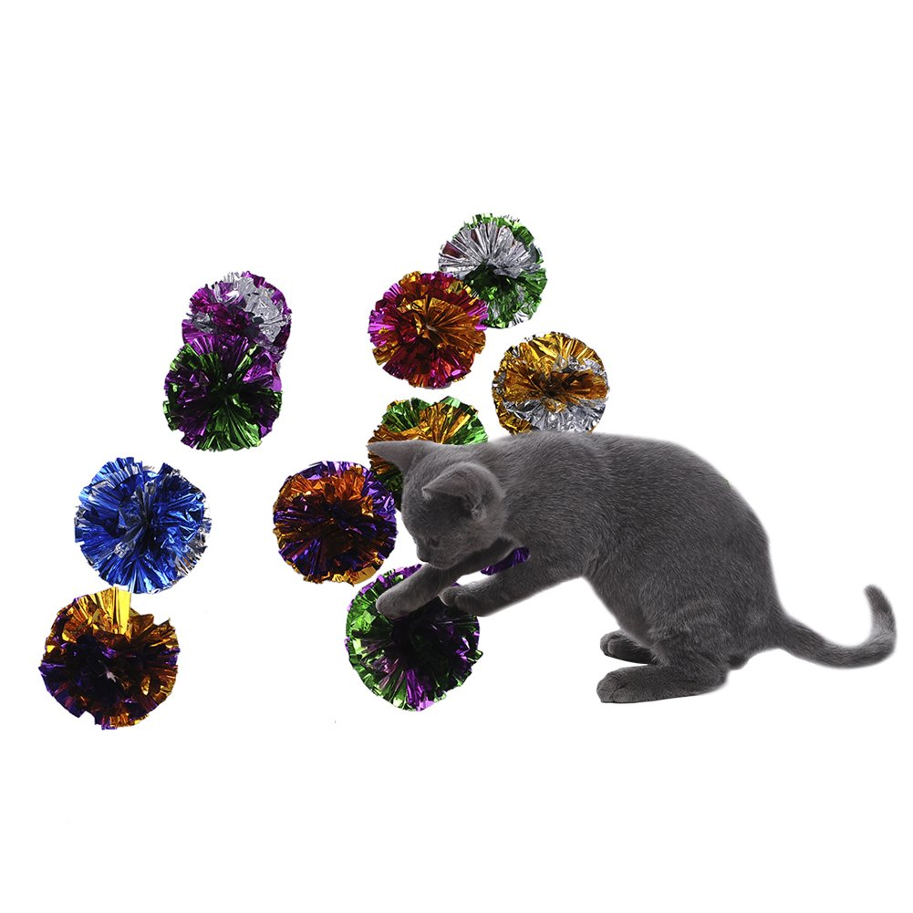 12 Pcs Pet Cat Toy Crinkle Balls Crackle Paper Rustle Sound Ball Fun Activity Play Toy for Kitten Random Color zsl