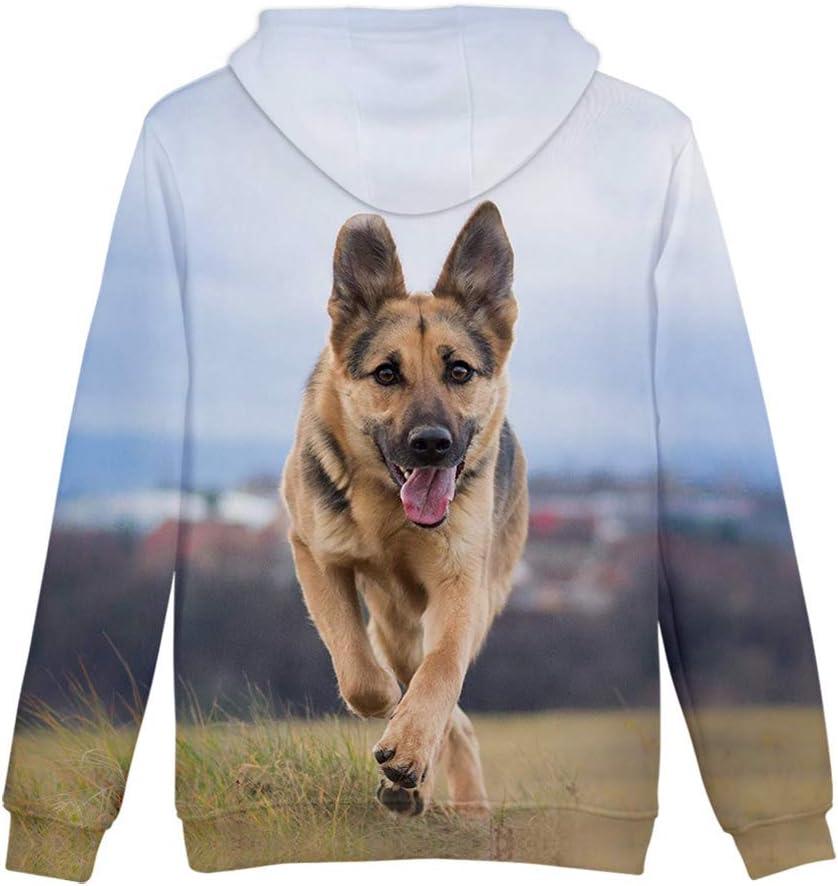 men//women//girl//boy 3D printed sweatshirts long sleeve sweater dog round neck sweater coat hoodie with large bag MFFACAI German Shepherd Hoodie