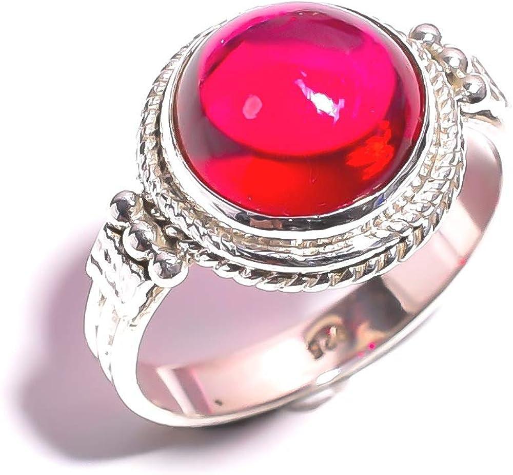 mughal gems & jewellery - Anillo de Plata de Ley 925 con Piedras Preciosas de Cuarzo Rosa Natural para Mujeres y niñas (Talla 5,5 (EE. UU.)