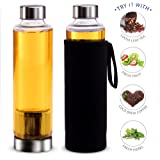 Teabloom Hot & Cold Brew Maker & Travel Bottle - 20 Oz. Tea Bottle with Infuser, Stainless Steel Filter Basket & Insulating Sleeve