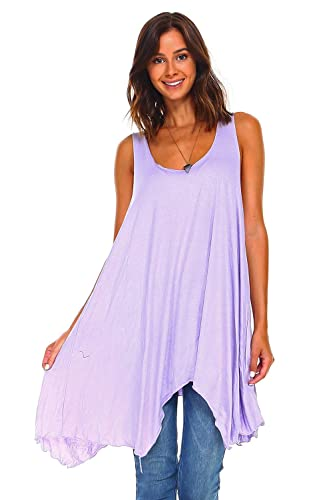 ed477d6a093 Image Unavailable. Image not available for. Color: Simplicitie Women's  Sleeveless Swing Flare Tunic Dress Tank Top - Regular and Plus Size -  Lavender