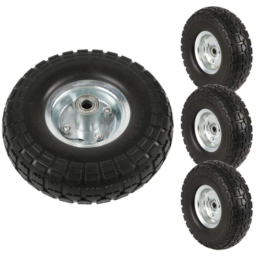 Topeakmart 4Pcs Rubber Solid Rubber Tyre Wheels - Garden Sack Truck Trolley Cart Wheel Barrow Tyre 10-inch Tire Diameter Black by Topeakmart