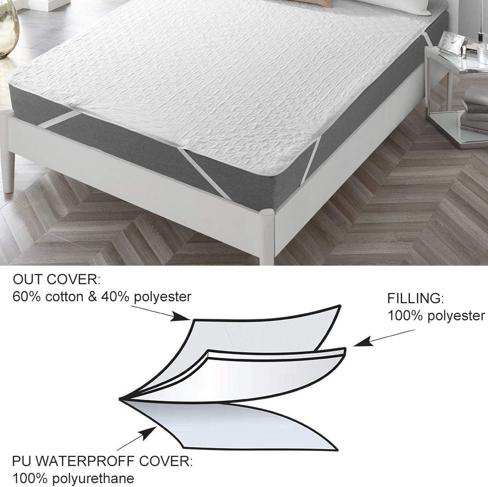 13 Colors 100/% Waterproof Fitted Sheet Mattress Cover Bed Protector Pad Non-Skid