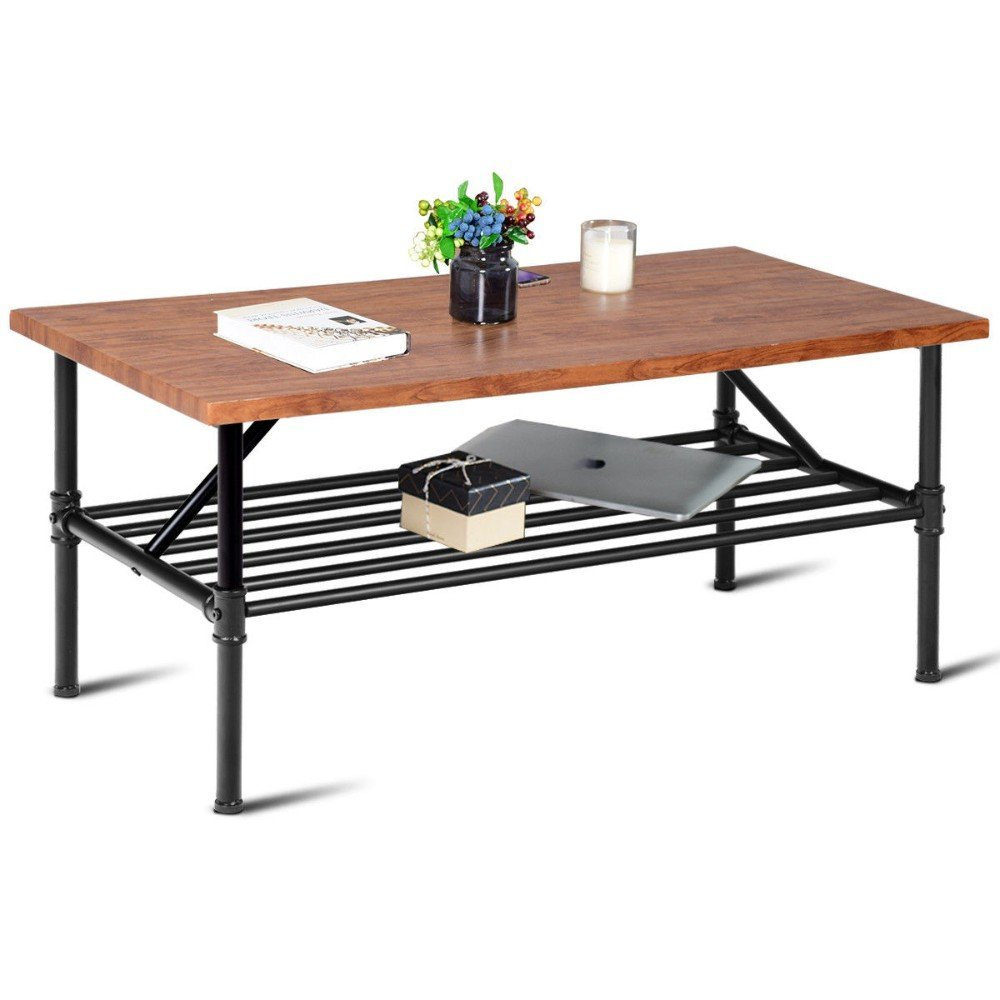 2-Tier Cocktail Coffee Table Living Room Furniture Metal Frame W/Storage Shelf