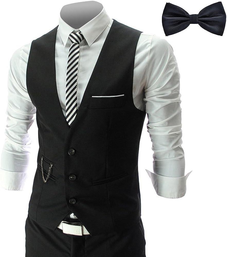 YaoDgFa - Chaleco para hombre + pajarita Smoking Sakko chaleco para traje de hombre, corte ajustado, para boda, festivo, elegante