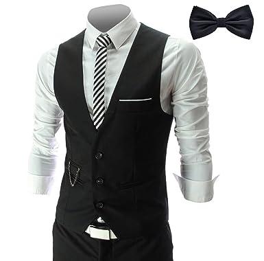 Kaufen Bestbewertete Mode suche nach echtem YaoDgFa Herren Weste Anzug + Fliege Smoking Sakko Anzugweste Herrenweste  Herrenanzug slim fit Hochzeit feierlich Elegant Schwarz