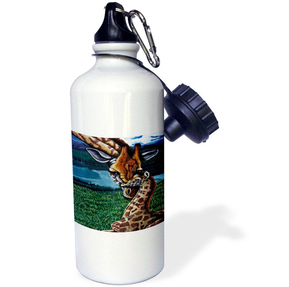 21 oz 3dRose wb/_3235/_1GIRAFFE MOTHER Sports Water Bottle White