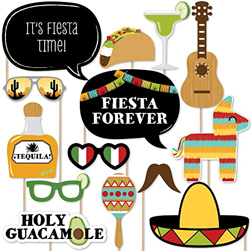mexican fiesta mexican themed photo booth props kit 20 count - Mexican Party Decorations