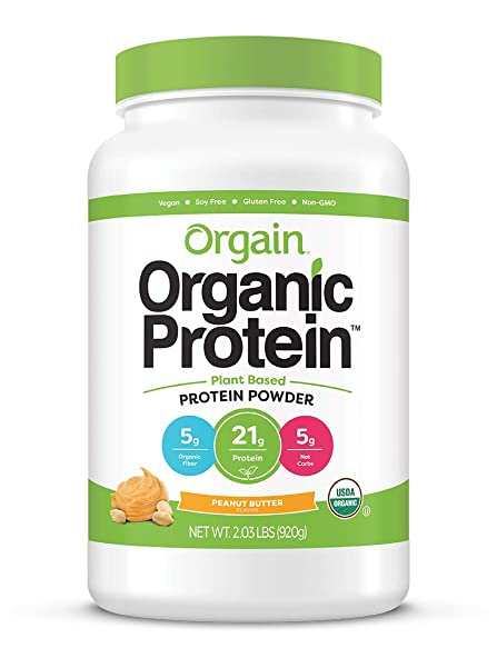 Orgain Organic Plant Based Protein Powder, Peanut Butter – Vegan, Low Net Carbs, Non Dairy, Gluten Free, Lactose Free, No Sugar Added, Soy Free, Kosher, Non-GMO, 2.03 Pound Packaging May Vary