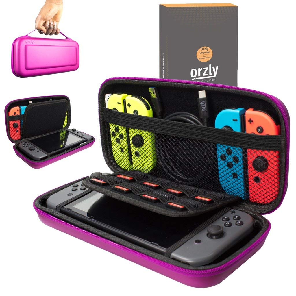 Orzly Carry Case Compatible With Nintendo Switch - PINK Protective Hard Portable Travel Carry Case Shell Pouch for Nintendo Switch Console & Accessories product image