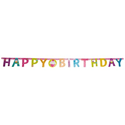 "amscan Illustrated Letter Banner | Cupcakes Collection | Birthday, 4 1/4"", Multi Color, Model:121291: Toys & Games"