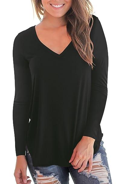 a961beb1ea3e NIASHOT Women's Casual Long Sleeve Solid Soft V-Neck T-Shirt Tops at ...