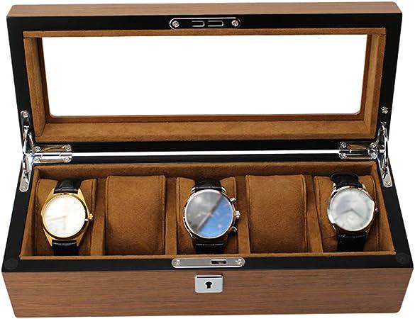 Caja de Reloj Grande para Hombres - 5 Ranuras de Relojes, Organizador de joyería Reloj de Madera con Tapa de Cristal y cojín removible, marrón: Amazon.es: Hogar