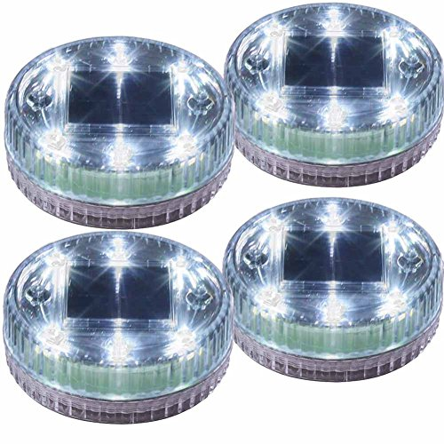 POPPAP Pond Lights Water Floating Solar Light 6 LED Round Ground Landscape Lamp 4 PACK White Lighting