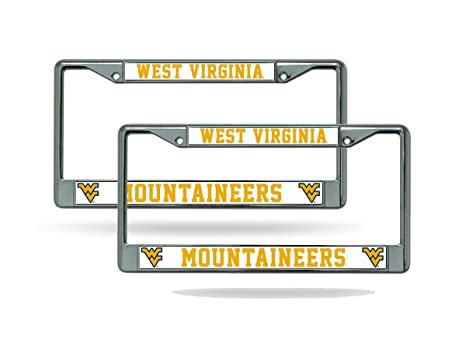 Rico Industries NCAA West Virginia Mountaineers Standard Chrome License Plate Frame