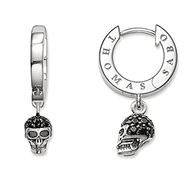 51cf1dd43 Thomas Sabo Women-Hinged Hoops Rebel at heart 925 Sterling silver Zirconia  Pavé black CR573-051-11: Amazon.co.uk: Jewellery